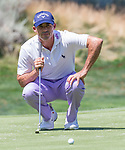 Johnathan Byrd line up a putt during the Barracuda Championship PGA golf tournament at Montrêux Golf and Country Club in Reno, Nevada on Saturday, July 27, 2019.