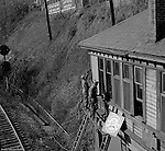 Corliss PA:  View of PA Railroad workers restoring a building as part of the company's Operation Beaver. &quot;Operation Beaver,&quot; was a paint-up, fix-up, and clean-up<br />