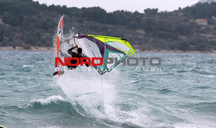 05.01.2014., Vodice, Croatia - Many windsurfers enjoyed strong wind and high waves on the sea.<br /> <br /> Foto &copy;  nph / PIXSELL / Hrvoje JelavicL
