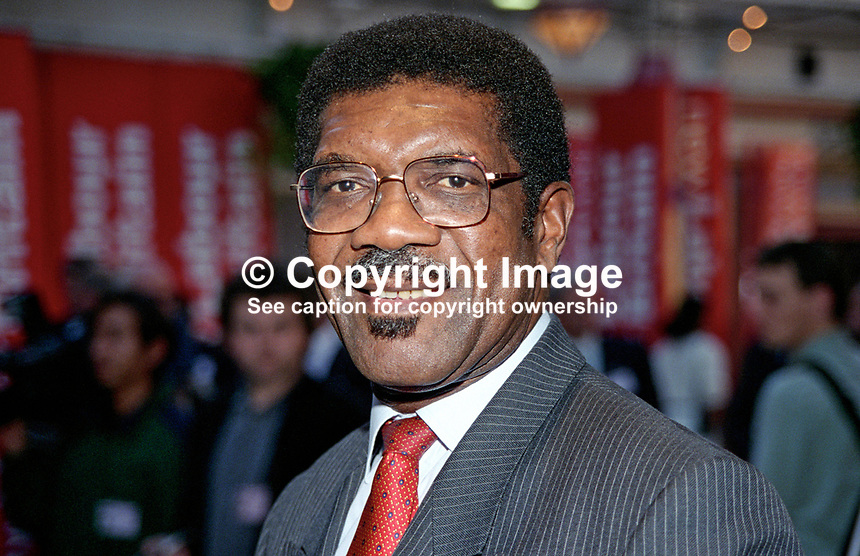 Bill Morris, general secretary, Transport and General Workers Union, UK, born Jamaica, came to UK in 1974. 199610220BM. <br /> <br /> Copyright Image from Victor Patterson, 54 Dorchester Park, <br /> Belfast, UK, BT9 6RJ<br /> <br /> t1: +44 28 9066 1296 (from Rep of Ireland 048 9066 1296)<br /> t2: +44 28 9002 2446 (from Rep of Ireland 048 9002 2446)<br /> m: +44 7802 353836<br /> <br /> e: victorpatterson@me.com<br /> www.victorpatterson.com<br /> <br /> Please see my Terms and Conditions of Use at www.victorpatterson.com. It is IMPORTANT that you familiarise yourself with them.<br /> <br /> Images used on the Internet must be visibly watermarked i.e. &copy; Victor Patterson<br /> within the body of the image and copyright metadata must not be deleted. Images <br /> used on the Internet have a size restriction of 4kbs and will be chargeable at current<br />  NUJ rates unless agreed otherwise.<br /> <br /> This image is only available for the use of the download recipient i.e. television station, newspaper, magazine, book publisher, etc, and must not be passed on to any third <br /> party. It is also downloaded on condition that each and every usage is notified within 7 days to victorpatterson@me.com<br /> <br /> The right of Victor Patterson to be identified as the author is asserted in accordance with The Copyright Designs And Patents Act (1988). All moral rights are asserted