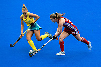 2nd February 2020; Sydney Olympic Park, Sydney, New South Wales, Australia; Womens International FIH Field Hockey, Australia versus Great Britain Women; Charlotte Watson of Great Britain takes on Georgia Wilson of Australia