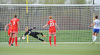 Boyds MD - April 19, 2014: Ashlyn Harris (1) of the Washington Spirit stops a penalty kick from Lauren Holiday (12) of FC Kansas City. The Washington Spirit defeated the FC Kansas City 3-1 during a regular game of the 2014 season of the National Women's Soccer League at the Maryland SoccerPlex.