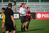 Kansas City, MO - Saturday June 17, 2017: Vlatko Andonovski, Alexa Newfield during a regular season National Women's Soccer League (NWSL) match between FC Kansas City and the Seattle Reign FC at Children's Mercy Victory Field.