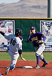 March 7, 2012:   Nevada Wolf Pack catcher Ryan Teal is out as San Francisco State Gators infielder Sam Wilkins turns a double play during their NCAA baseball game played at Peccole Park on Wednesday afternoon in Reno, Nevada.