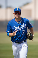 Kansas City Royals left fielder Brewer Hicklin (7) during a Minor League Spring Training game against the Milwaukee Brewers at Maryvale Baseball Park on March 25, 2018 in Phoenix, Arizona. (Zachary Lucy/Four Seam Images)