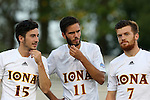 05 September 2015: Iona's Daniel Huerta (ESP) (15), Daniel Ocana Garcia (ESP) (11), and Marcos Nunez (ESP) (7). The Duke University Blue Devils hosted the Iona University Gaels at Koskinen Stadium in Durham, NC in a 2015 NCAA Division I Men's Soccer match. Duke won the game 2-1.