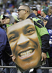 A Seattle Seahawks fans holds a post of running back Marshawn Lynch, cheer the offensive unit in their their game against the St. Louis Rams at CenturyLink Field in Seattle, Washington on  December 30, 2012.    © 2102.  Jim Bryant Photo. All Rights Reserved.
