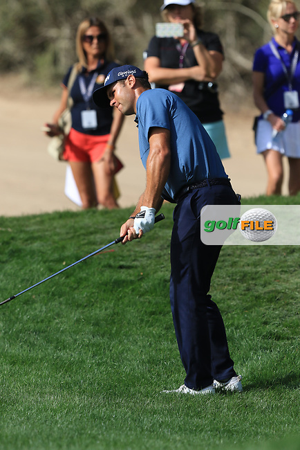 Adri Arnaus (ESP) on the 2nd during Round 4 of the Omega Dubai Desert Classic, Emirates Golf Club, Dubai,  United Arab Emirates. 27/01/2019<br /> Picture: Golffile | Thos Caffrey<br /> <br /> <br /> All photo usage must carry mandatory copyright credit (&copy; Golffile | Thos Caffrey)