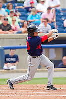 Randolph Oduber #36 of the Hagerstown Suns follows through on his swing against the Rome Braves at State Mutual Stadium on May 1, 2011 in Rome, Georgia.   Photo by Brian Westerholt / Four Seam Images