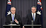 Australia's Treasurer Scott Morrison and Australia's Finance Minister Mathias Cormann speak to the media during a press conference at Parliament House in Canberra, Monday, Dec. 19, 2016. Australia's Treasurer Scott Morrison will hand down the Mid Year Economic and Fiscal Outlook (MYEFO).PHOTO: MARK GRAHAM