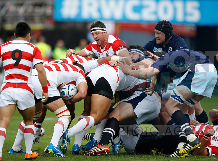 Luke Thompson of Japan anchors a maul and pushes against Scotland - Rugby World Cup 2015 - Pool B - Scotland vs Japan - Kingsholm Stadium - Gloucester - England - 23rd September 2015 - Picture Simon Bellis/Sportimage
