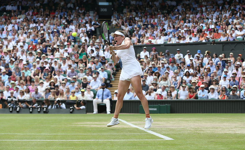 Simona Halep (ROU) during her match against Elina Svitolina (UKR) in their Ladies' Singles Semi-Final match<br /> <br /> <br /> Photographer Rob Newell/CameraSport<br /> <br /> Wimbledon Lawn Tennis Championships - Day 10 - Thursday 11th July 2019 -  All England Lawn Tennis and Croquet Club - Wimbledon - London - England<br /> <br /> World Copyright © 2019 CameraSport. All rights reserved. 43 Linden Ave. Countesthorpe. Leicester. England. LE8 5PG - Tel: +44 (0) 116 277 4147 - admin@camerasport.com - www.camerasport.com