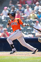 Garabez Rosa (2) of the Bowie Baysox follows through on his swing against the Richmond Flying Squirrels at The Diamond on May 24, 2015 in Richmond, Virginia.  The Flying Squirrels defeated the Baysox 5-2.  (Brian Westerholt/Four Seam Images)