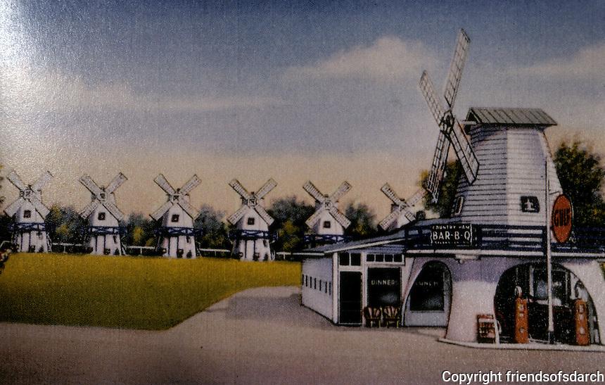 Motels:  Dutch Mill Village, Glasgow KY. 1932. View 1939.  Demolished.  Photo '89.