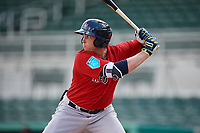 Boston Red Sox third baseman Triston Casas (19) at bat during a Florida Instructional League game against the Baltimore Orioles on September 21, 2018 at JetBlue Park in Fort Myers, Florida.  (Mike Janes/Four Seam Images)
