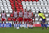 Stevenage defend a free kick during Stevenage vs Exeter City, Sky Bet EFL League 2 Football at the Lamex Stadium on 10th August 2019