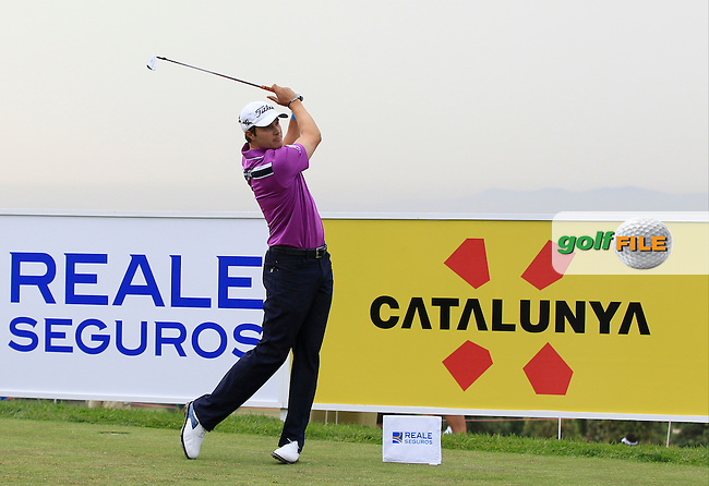 Peter Uihlein (USA) on the 13th tee during Round 1 of the Open de Espana  in Club de Golf el Prat, Barcelona on Thursday 14th May 2015.<br /> Picture:  Thos Caffrey / www.golffile.ie