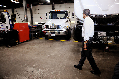 United States President Barack Obama tours K. Neal International, a commercial truck dealership and truck parts supplier, Friday, June 4, 2010 in Hyattsville, Maryland..Credit: Olivier Douliery / Pool via CNP