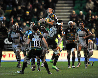 Northampton, England. Mike Brown of Harlequins wins a high ball during the Aviva Premiership match between Northampton Saints and Harlequins at Franklin's Gardens on December 22. 2012 in Northampton, England.