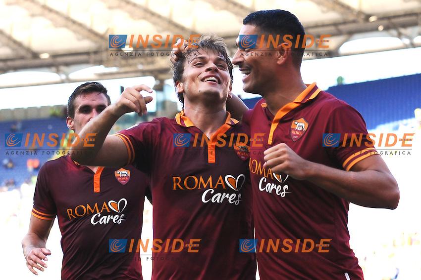 Esultanza Gol Adem Ljajic Roma con Marco Borriello 2-0 <br /> Goal celebration <br /> Roma 22-09-2013 Stadio Olimpico <br /> Football Calcio 2013/2014 Serie A<br /> Roma - Lazio <br /> Foto  Insidefoto
