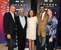 BEVERLY HILLS, CA - AUGUST 3: L-R) Alan Silvestri, Mitchell Cannold, Ann Druyan, Neil DeGrasse Tyson and Jennifer Ouellette arrive at the Fox And National Geographic Channel Presents A Screening Of 'Cosmos: A Spacetime Odyssey' at The Paley Center for Media on August 3, 2014 in Beverly Hills, California. PGFM/Starlitepics