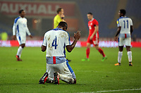 Fidel Escobar of Panama kneels down to pray after the end of the game during the international friendly soccer match between Wales and Panama at Cardiff City Stadium, Cardiff, Wales, UK. Tuesday 14 November 2017.