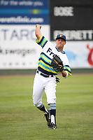 Joe Venturino (14) of the Everett AquaSox throws before a game against the Boise Hawks at Everett Memorial Stadium on July 21, 2017 in Everett, Washington. Boise defeated Everett, 10-4. (Larry Goren/Four Seam Images)