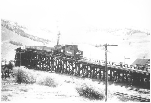 D&amp;RGW #483 pushing four loaded coal cars up the Sargent coaling trestle, looking westerly.<br /> D&amp;RGW  Sargent, CO  Taken by Kindig, Richard H. - 9/20/1952