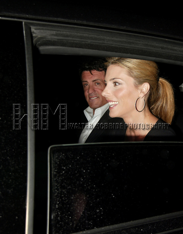 Sylvester Stallone and Jennifer Flavin<br /> ( In their Car / Limo Window )<br /> Attending a private party at LQ in New York City to honor  the NBC TV Network and the Upfront Announcements for 2004-2005. <br /> May 17, 2004