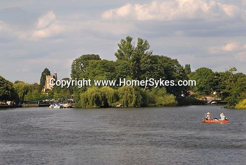 Eel Pie island. River Thames St Marys Church Twickenham Middlesex. England