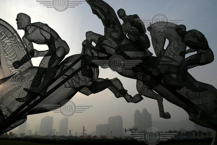 An equestrian sculpture.