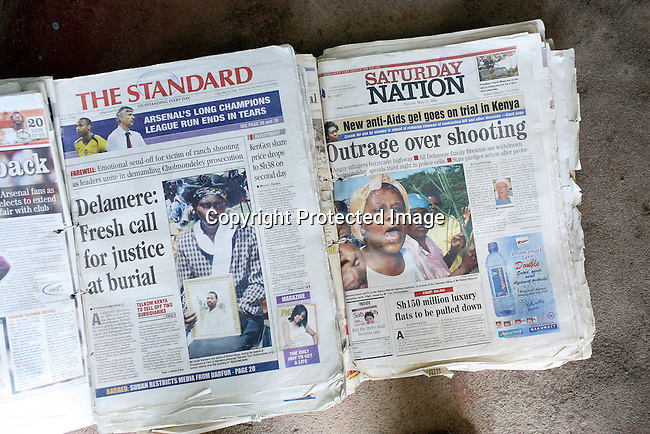 Newspaper articles about the Tom Cholmondeley murder case. Photo: Per-Anders Pettersson/Getty Images