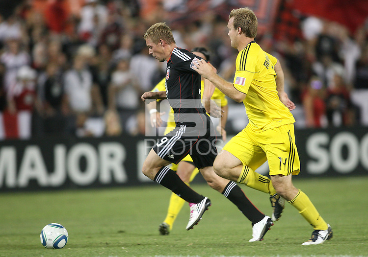 Danny Allsopp #9 of D.C. United races away from Chad Marshall #14 of the Columbus Crew during a US Open Cup semi final match at RFK Stadium on September 1 2010, in Washington DC. Columbus won 2-1 aet.