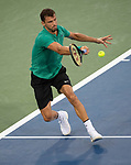 August  16, 2018:  Grigor Dimitrov (BUL) split sets with Novak Djokovic (SRB) before the rain delay at the Western & Southern Open being played at Lindner Family Tennis Center in Mason, Ohio. ©Leslie Billman/Tennisclix/CSM