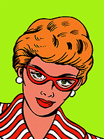 Close up serious woman wearing glasses