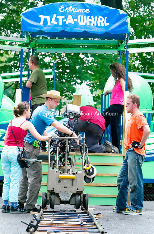 MIDDLEBURY, CT. 27 June 2007-062707SV04--A film crew shoots a scene from a family feature movie called &quot;Bubble Trubble&quot; near the Tilt-A-Whirl at Quassy Amusement Park in Middlebury Wednesday.<br /> Steven Valenti Republican-American