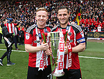 Sheffield United's Mark Duffy and Billy Sharp celebrate with the trophy during the League One match at Bramall Lane, Sheffield. Picture date: April 30th, 2017. Pic David Klein/Sportimage