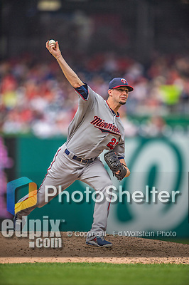 9 June 2013: Minnesota Twins pitcher Josh Roenicke on the mound against the Washington Nationals at Nationals Park in Washington, DC. The Nationals shut out the Twins 7-0 in the first game of their day/night double-header. Mandatory Credit: Ed Wolfstein Photo *** RAW (NEF) Image File Available ***