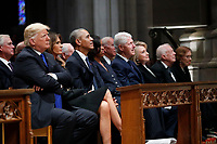 From left, President Donald Trump, first lady Melania Trump, former President Barack Obama, former first lady Michelle Obama, former President Bill Clinton, former Secretary of State Hillary Clinton, and former President Jimmy Carter and former first lady Rosalynn Carter, listen as former President George W. Bush speaks during a State Funeral at the National Cathedral, Wednesday, Dec. 5, 2018, in Washington, for former President George H.W. Bush. <br /> CAP/MPI/RS<br /> &copy;RS/MPI/Capital Pictures