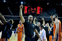 Sharks coach Judd Flavell thanks fans after winning the national basketball league final  between Wellington Saints and Southland Sharks at TSB Bank Arena in Wellington, New Zealand on Sunday, 5 August 2018. Photo: Dave Lintott / lintottphoto.co.nz