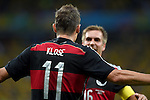 Miroslav Klose (GER),<br /> JULY 8, 2014 - Football / Soccer :<br /> Miroslav Klose of Germany celebrates with his teammate Philipp Lahm after scoring their second goal during the FIFA World Cup Brazil 2014 Semi-finals match between Brazil 1-7 Germany at Estadio Mineirao in Belo Horizonte, Brazil. (Photo by FAR EAST PRESS/AFLO)