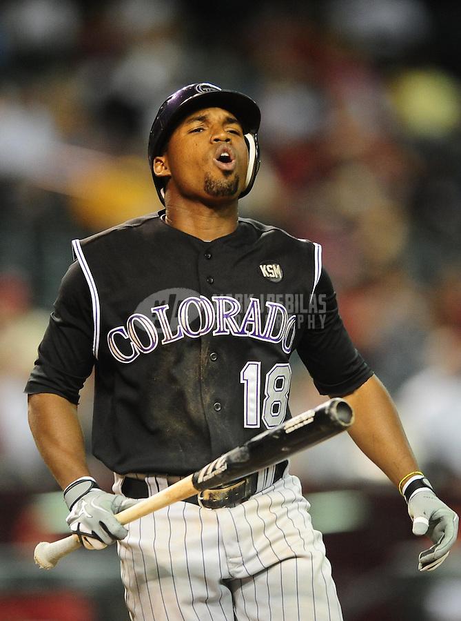 Sept. 21, 2010; Phoenix, AZ, USA; Colorado Rockies second baseman Jonathan Herrera against the Arizona Diamondbacks at Chase Field. Mandatory Credit: Mark J. Rebilas-