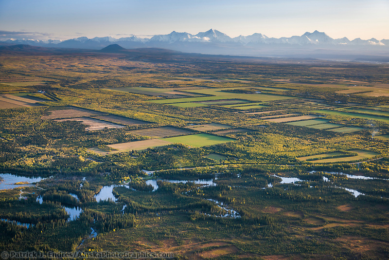 Aerial of the agricultural fields in Delta Junction, Alaska Range mountains, Interior, Alaska.