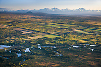 Aerial of the agricultural fields in Delta Junction, Alaska Range mountains, Interior, Alaska.