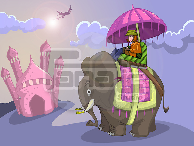 Tourist riding elephant in front of a mausoleum, Taj Mahal, Agra, Uttar Pradesh, India