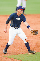 Third baseman Dante Bichette Jr. #49 of Team Blue on defense against Team Red during the USA Baseball 18U National Team Trials at the USA Baseball National Training Center on June 30, 2010, in Cary, North Carolina.  Photo by Brian Westerholt / Four Seam Images