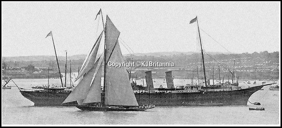 BNPS.co.uk (01202 558833)<br /> Pic: K1Britannia/BNPS<br /> <br /> ***Please Use Full Byline***<br /> <br /> The Britannia is dwarfed by the Victoria and Albert yatch. <br /> <br /> An 8 million pounds appeal has been launched to resurrect one of the most famous and best loved racing yachts of all time - the 'King's yacht' Britannia.<br /> <br /> The historic 177ft yacht was built for playboy prince Albert in 1893 and became an instant star of the sailing scene, winning 33 of 43 prestigious races  in her first year alone.<br /> <br /> The stunning Royal yacht became known the world over and enjoyed an illustrious racing career at the hands of Albert, who went on to become King Edward VII.<br /> <br /> Edward's son George V continued the love affair with Britannia, dubbed 'the King's yacht', so much so that on his death in 1936 she was deliberately sunk off the Isle of Wight.<br /> <br /> Now, 78 years on, campaigners are nearing the final stages of a project to complete an an inch-perfect replica of Britannia which has been 20 years in the making.<br /> <br /> The instantly recognisable hull is finished but around six million pounds is needed to transform it into a yacht worthy of Royalty. <br /> <br /> The yacht, which will cost an extra one million pounds a year to run, will then be taken all round the world so it can be enjoyed by charities and future generations.