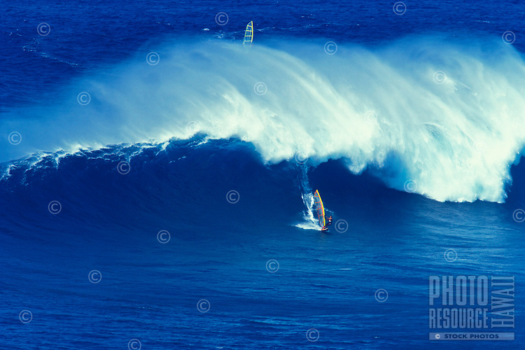 Wind surfing at Jaws, Maui.
