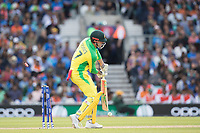 \Marcus Stones (Australia) is bowled by Bhuvneshwar Kumar (India) during India vs Australia, ICC World Cup Cricket at The Oval on 9th June 2019