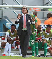 Costa Rica coach Jorge Luis Pinto gestures on the touchline